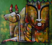 contemporary Mixed-media Art Painting title Emotional attachment by artist Anupam Pal