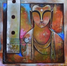 # acrylic # canvas # banaras ghat # figurative # contemporary # modern art # religious