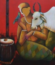 Conversation with bird | Mixed_media by artist Anupam Pal | canvas