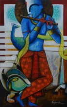 Anupam Pal | Acrylic Painting title The Mesmerizing Tunes 4 on canvas | Artist Anupam Pal Gallery | ArtZolo.com