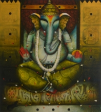 contemporary Acrylic Art Painting title Ganesha 25 by artist Anupam Pal