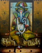 contemporary Acrylic Art Painting title 'Ganesha 20' by artist Anupam Pal