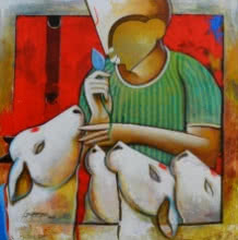 Hearken | Painting by artist Anupam Pal | acrylic | canvas