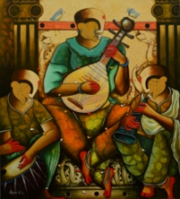 contemporary Acrylic Art Painting title 'Musical band 11' by artist Anupam Pal