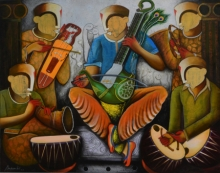 contemporary Acrylic Art Painting title 'Musical Band 6' by artist Anupam Pal