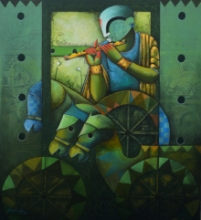 contemporary Acrylic Art Painting title 'Parthasarathi 18' by artist Anupam Pal