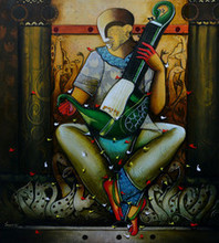 contemporary Acrylic Art Painting title Musical Band 15 by artist Anupam Pal