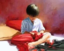 Figurative Oil Art Painting title 'Scarves' by artist Jose Higuera