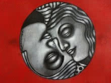 Yin - Yang Couple | Painting by artist Deblina Ghosh | mixed-media | Paper