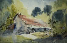 Landscape Watercolor Art Painting title 'Maharajbagh Hut' by artist Ghanshyam Dongarwar