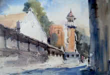 Landscape Watercolor Art Painting title 'Mahal Nagpur' by artist Ghanshyam Dongarwar