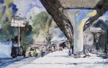 Cityscape Watercolor Art Painting title 'Sitaburdi Overbridge' by artist Ghanshyam Dongarwar