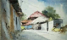Landscape Watercolor Art Painting title 'A lane of Mondha Village' by artist Ghanshyam Dongarwar