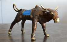 art, sculpture, brass, animal, bull