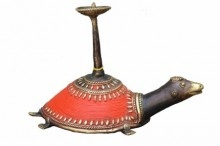 Tortoise Candle Stand Red | Craft by artist Kushal Bhansali | Brass