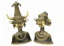 Tribal Head Pair | Craft by artist Kushal Bhansali | Brass