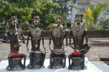Kushal Bhansali | Tribal Musician Set Sculpture by artist Kushal Bhansali on Brass | ArtZolo.com