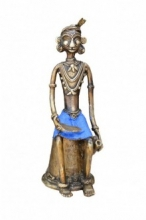 Tribal Sitting Man | Craft by artist Kushal Bhansali | Brass