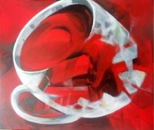 Lifestyle Acrylic Art Painting title 'The Red Tea' by artist Jyotirmoy Bhuyan
