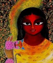 Meenakshi Jha Banerjee | Acrylic Painting title Basanti VIII on Canvas | Artist Meenakshi Jha Banerjee Gallery | ArtZolo.com