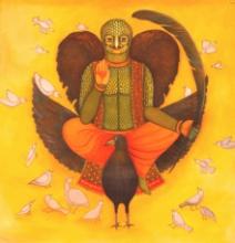 Figurative Acrylic Art Painting title Birdman by artist Meenakshi Jha Banerjee