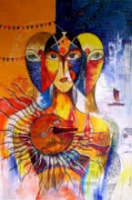 Meenakshi Jha Banerjee | Acrylic Painting title Ganga Pooja on Canvas | Artist Meenakshi Jha Banerjee Gallery | ArtZolo.com