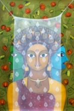 Figurative Acrylic Art Painting title 'Pardey Mey Rahney Do 2' by artist Meenakshi Jha Banerjee