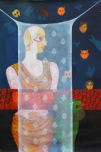 Figurative Acrylic Art Painting title 'Pardey Mey Rahney Do 4' by artist Meenakshi Jha Banerjee