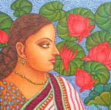 Figurative Oil Art Painting title 'Abhisarika I' by artist Suparna Dey
