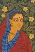 Figurative Tempera Art Painting title 'Lramani II' by artist Suparna Dey