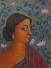 Portrait Tempera Art Painting title Ramani by artist Suparna Dey