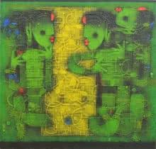 Basuki Dasgupta | Acrylic Painting title Converse on Canvas