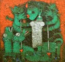 Religious Acrylic Art Painting title 'Devi' by artist Basuki Dasgupta