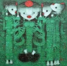 Basuki Dasgupta | Acrylic Painting title Devi 2 on Canvas