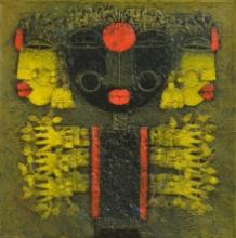 Religious Acrylic Art Painting title 'Devi 5' by artist Basuki Dasgupta