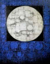 Abstract Acrylic Art Painting title 'Moon' by artist Basuki Dasgupta