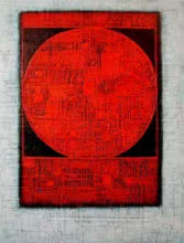 Abstract Acrylic Art Painting title 'The Red Moon' by artist Basuki Dasgupta