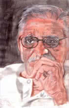 Photorealistic Watercolor Art Painting title Master wordsmith Gulzar by artist Saurabh Turakhia