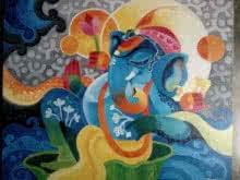 Figurative Acrylic Art Painting title 'Ganesha II' by artist Pradip Goswami