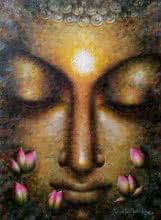 Religious Acrylic Art Painting title 'Dhyanmurti' by artist Madhumita Bhattacharya