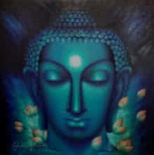 Madhumita Bhattacharya Paintings | Oil Painting title The Enlightened One by artist Madhumita Bhattacharya | ArtZolo.com
