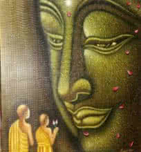 Ramesh | Acrylic Painting title Lord buddha painting on Canvas | Artist Ramesh Gallery | ArtZolo.com
