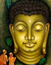 Figurative Oil Art Painting title Lord buddha painting by artist Ramesh