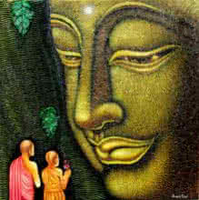 Figurative Acrylic Art Painting title Lord buddha painting by artist Ramesh