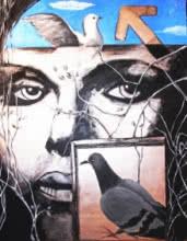 Framed Woman | Mixed_media by artist Partho Sengupta | Canvas