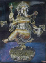 Religious Oil Art Painting title 'Ganesha' by artist Inithan Ponnuswamy