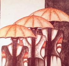 Figurative Acrylic Art Painting title Friends by artist Kappari Kishan