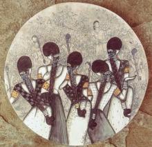 Figurative Acrylic Art Painting title Rhythm by artist Kappari Kishan