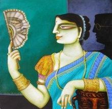 Charulata I | Painting by artist Gautam Mukherjii | acrylic | Canvas