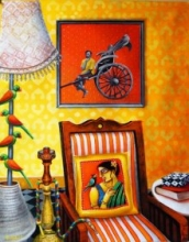 Home | Painting by artist Gautam Mukherjii | acrylic | Canvas